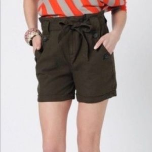 Anthropologie | Breezy Paperbag Shorts Olive Sz 12